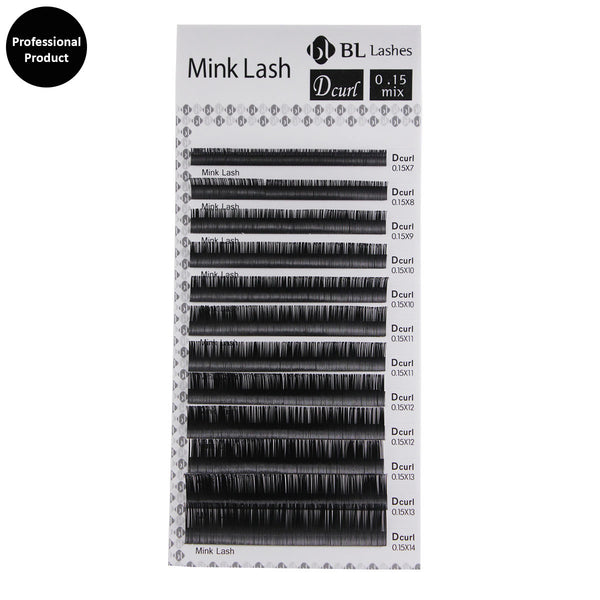 Eyelash Extension Blink Professional Mink Lash D Curl 0.15X7~14mm 8 sizes in 1 Mixed Tray