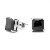 Princess Cut Black Cz Unisex Stud Earrings