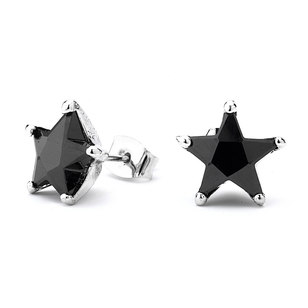 Black Star Cz Unisex Stud Earrings