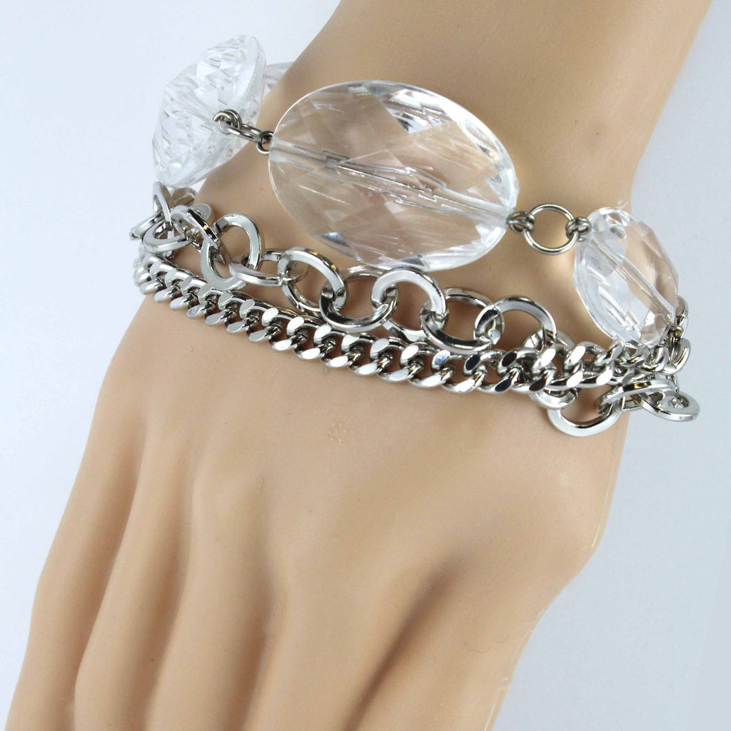 Big Crystal Multi Linked Chain Bracelet