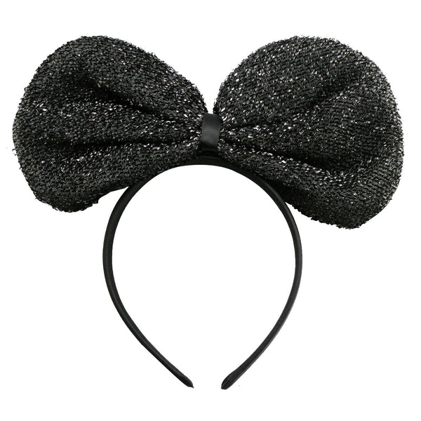 Metallic Big Ribbon Headband-Black
