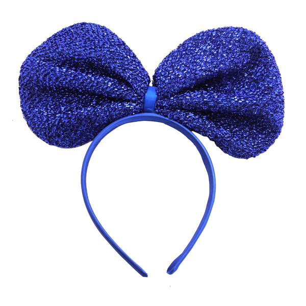 Metallic Big Ribbon Headband-Blue