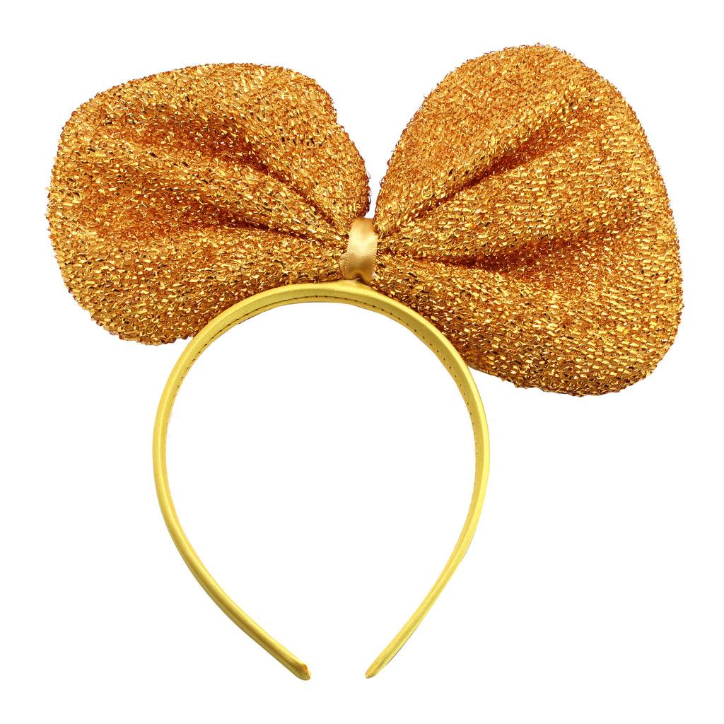 Metallic Big Ribbon Headband-Gold