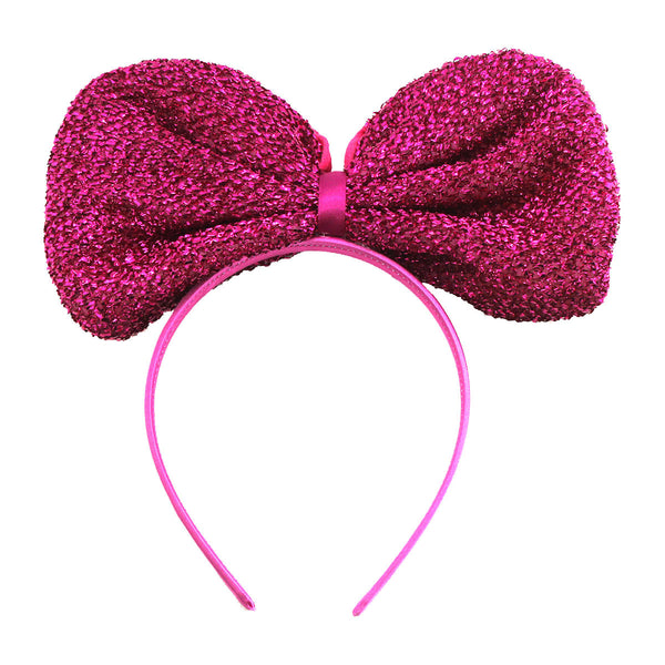 Metallic Big Ribbon Headband-Hot Pink