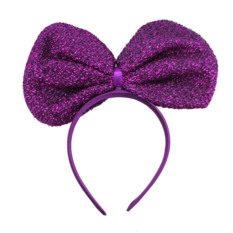 Metallic Big Ribbon Headband-Purple
