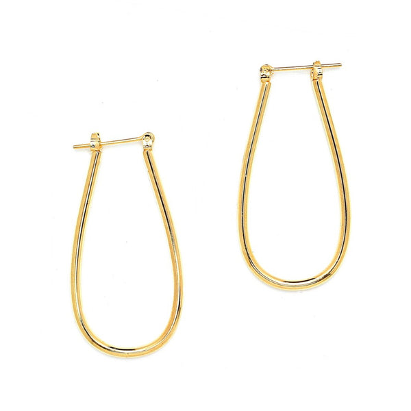Gold Plated Oval Hoop Pincatch Earrings-20mm