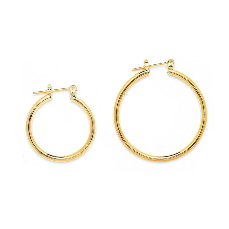 Gold Plated Plain Round Pincatch Earrings