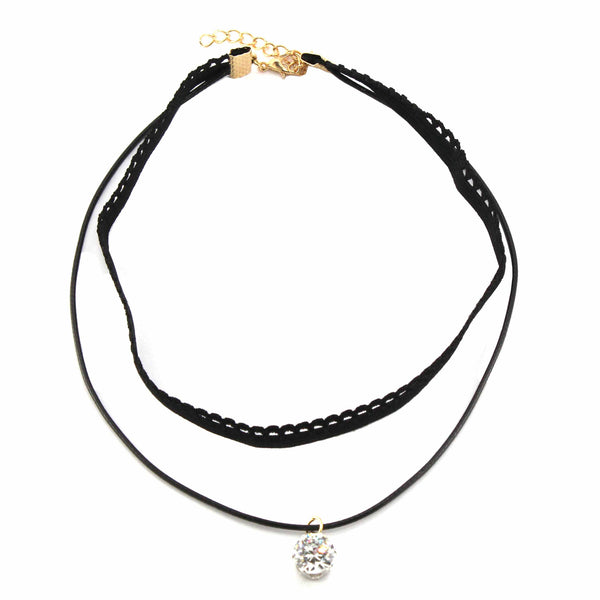 Double Layered CZ Black Choker Necklace