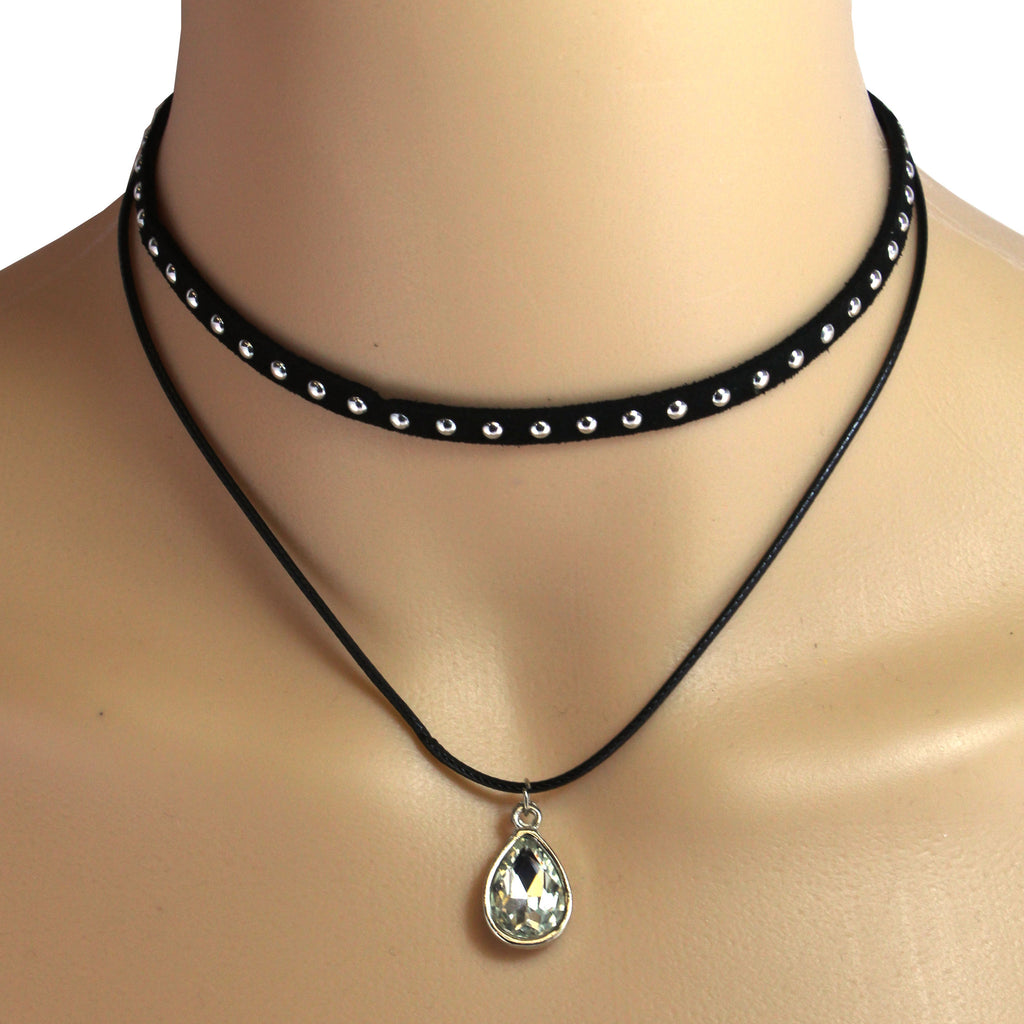 Color Double Layered CZ Choker Necklace