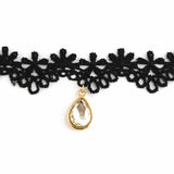 Oval Stone Lace Black Choker Necklace