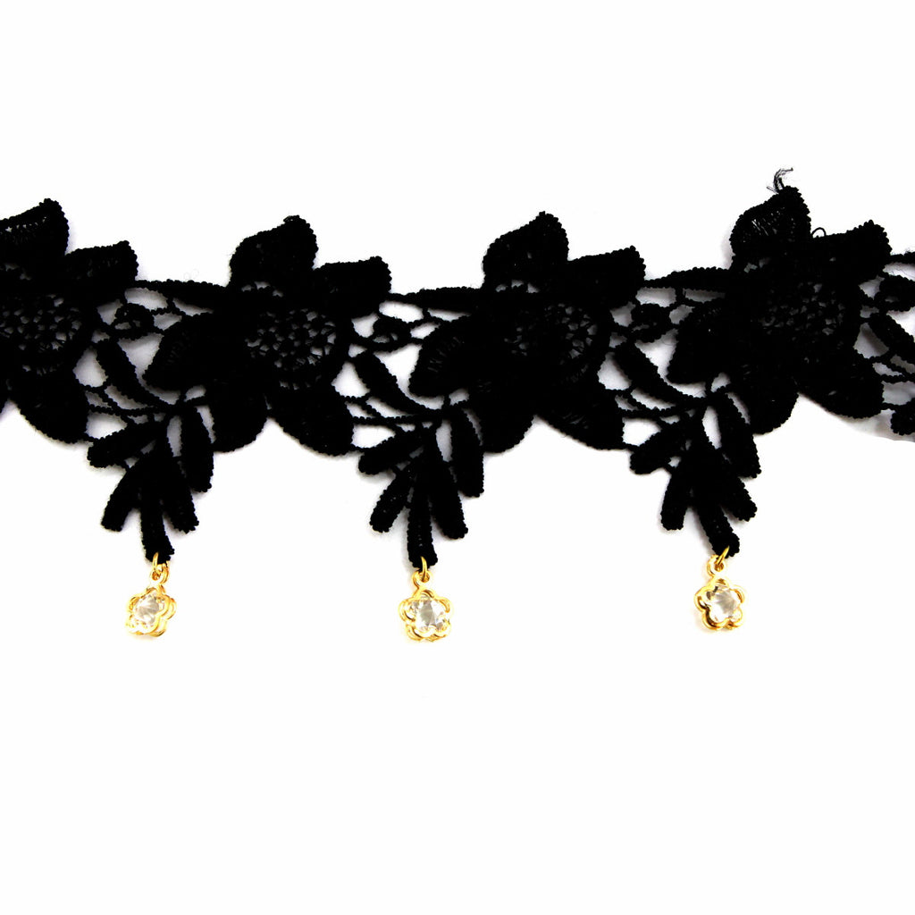 CZ Flower Lace Black Choker Necklace