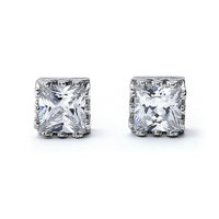 Princess Cut Crown Setting Cz Stud Earrings