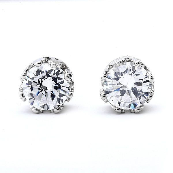 Round Cut Crown Setting Cz Stud Earrings