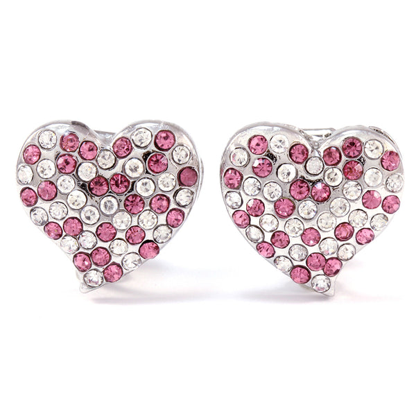 Rhodium Plated Pave Crystal Heart Clip On Earrings