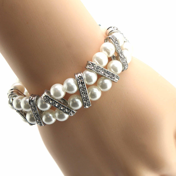 Pearl Stretch Bracelet with Crystal Accents