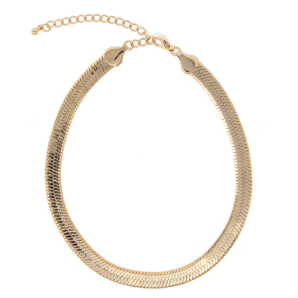 Gold Plated Herringbone Chain Choker Necklace (18 Inches Long)