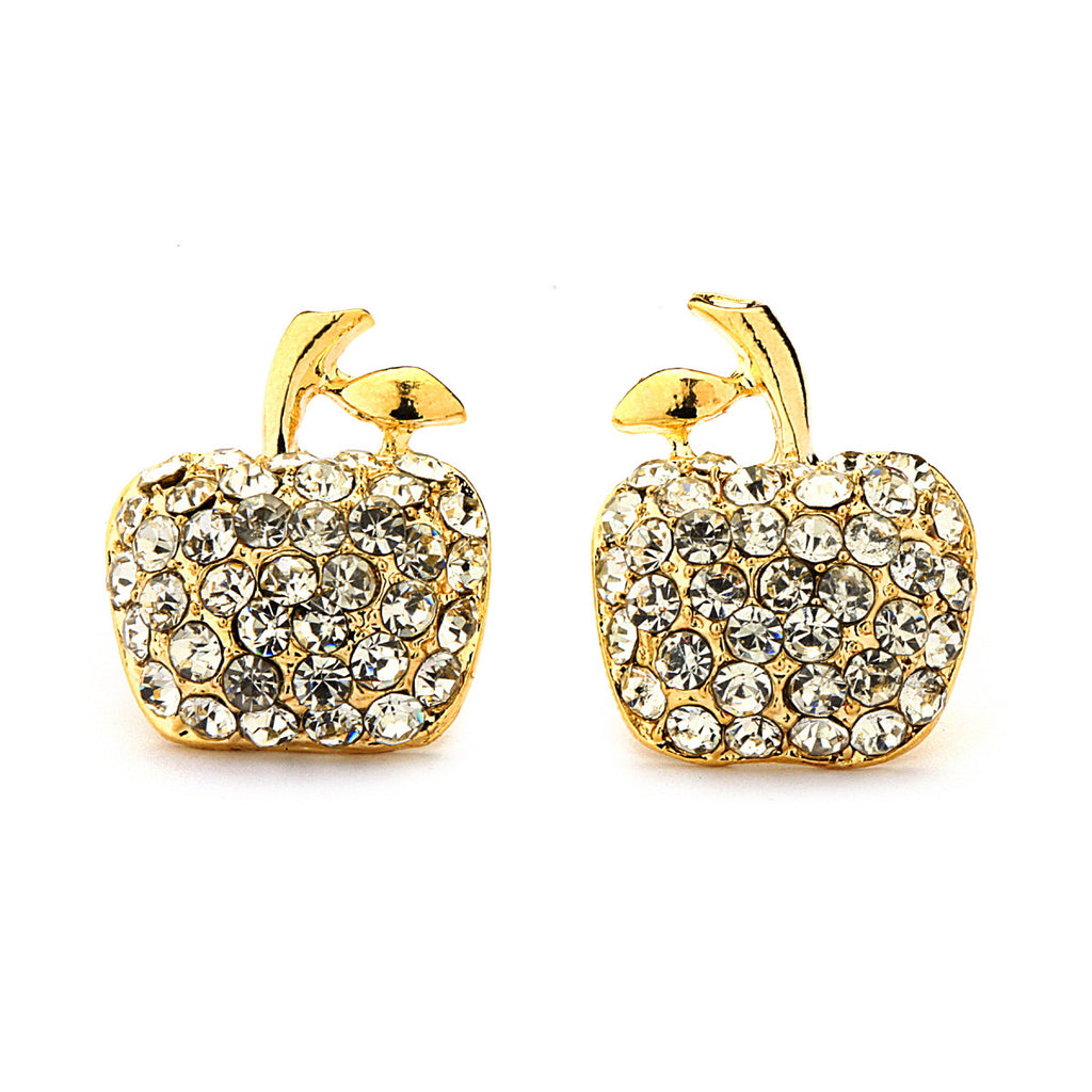Gold Plated Pave Crystal Apple Stud Earrings