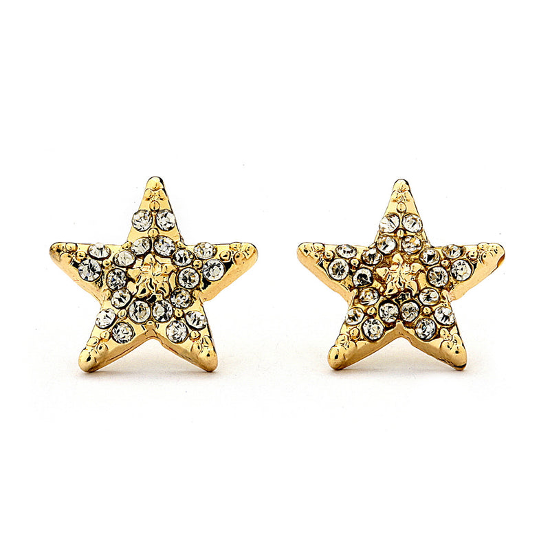 Pave Crystal Star Stud Earrings-10mm