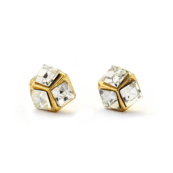 Pave Crystal Dice Stud Earrings