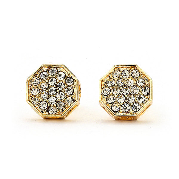 Pave Crystal Hexagon Stud Earrings-10mm