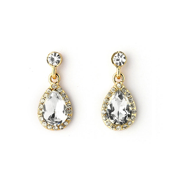 Pave Crystal Tear Drop Dangle Earrings
