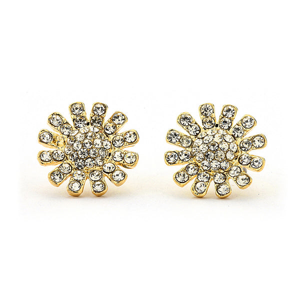 Pave Crystal Sun flower Stud Earrings-12mm