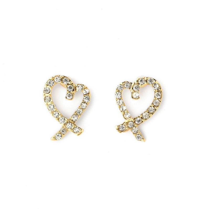 Pave Crystal Open Heart Stud Earrings