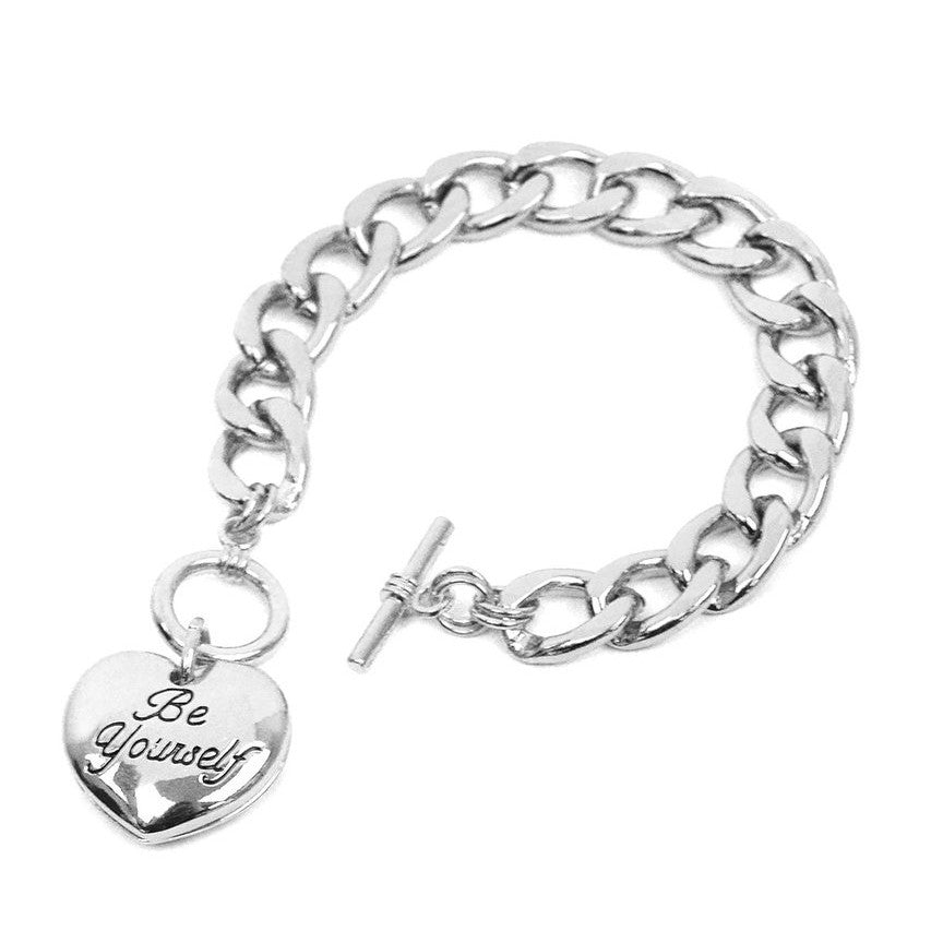 Be yourself heart charm toggle bracelet