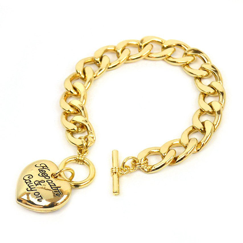Keep calm and carry on heart charm bracelet with toggle