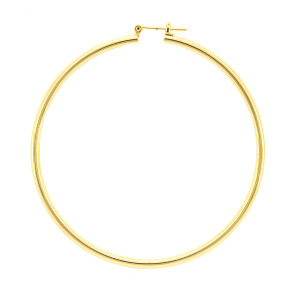 Gold Plated Round Pincatch Earrings-70mm