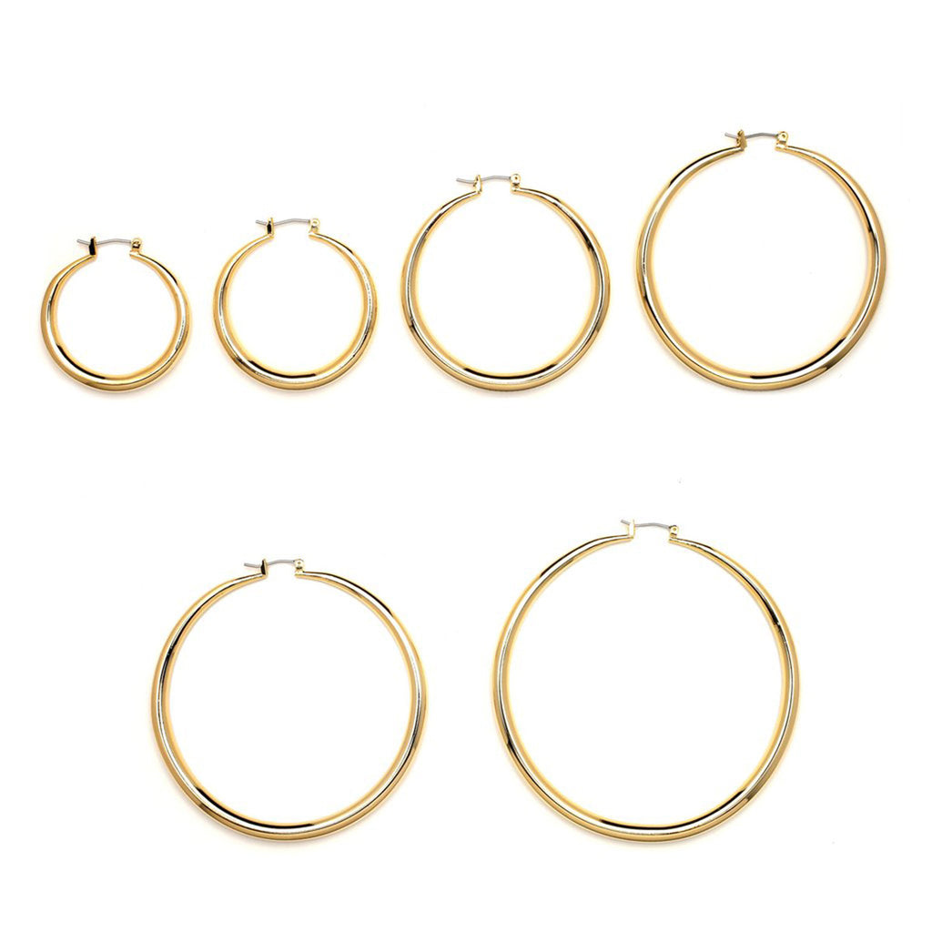 Gold Plated Plain Cut Hollow Hoop Earrings