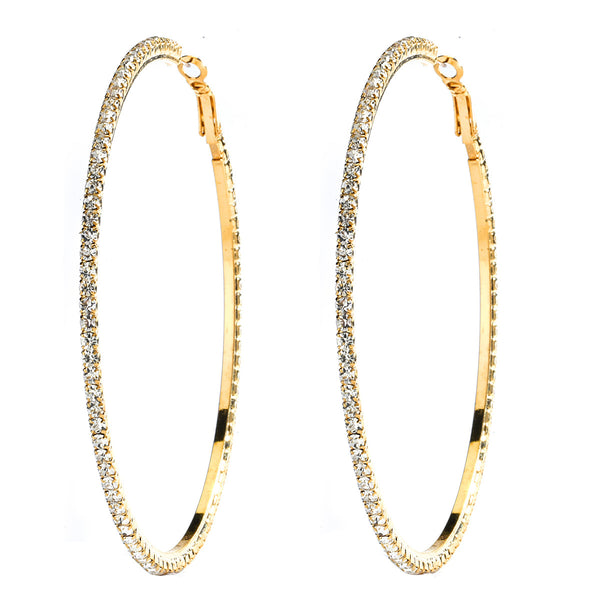 Gold Plated CZ Pave Hoop Earrings