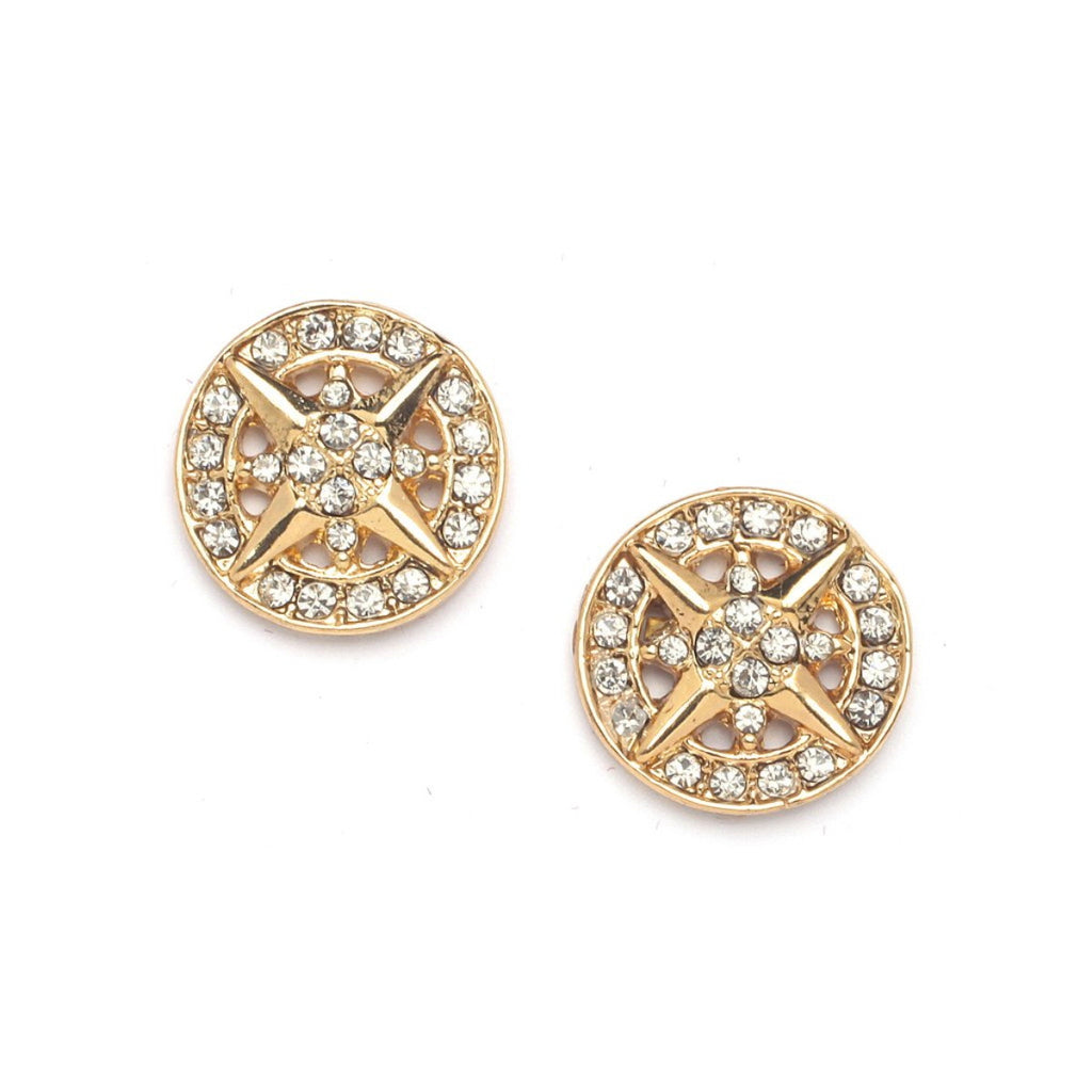 Crystal Round Hiphop Stud Earrings