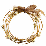 Gold Tone Multi Strand Bangle Bracelet