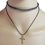 Cross Double Layered CZ Choker Necklace