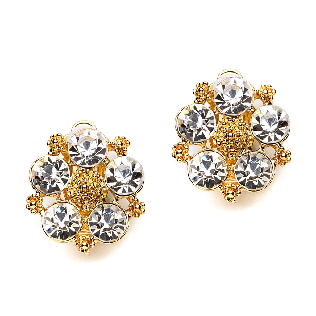 Flower Crystal Clip On Earrings-18 mm