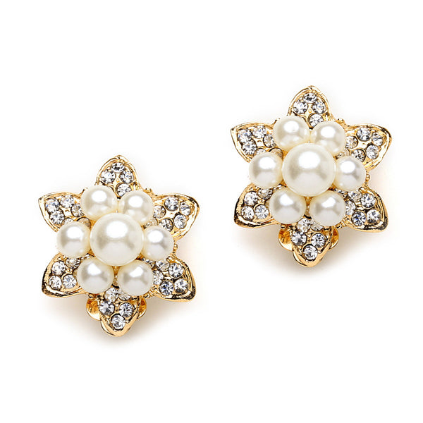 Star Crystal and Pearl Clip On Earrings