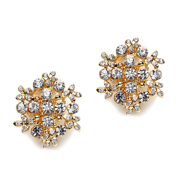 Snow Pattern Pave Crystal Clip On Earrings