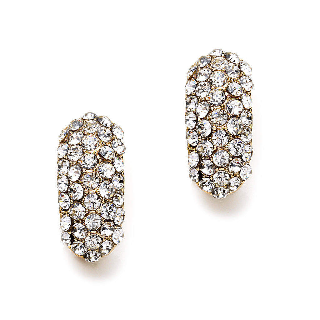 Pave Crystal Gold Plated Clip On Earrings(25mm)