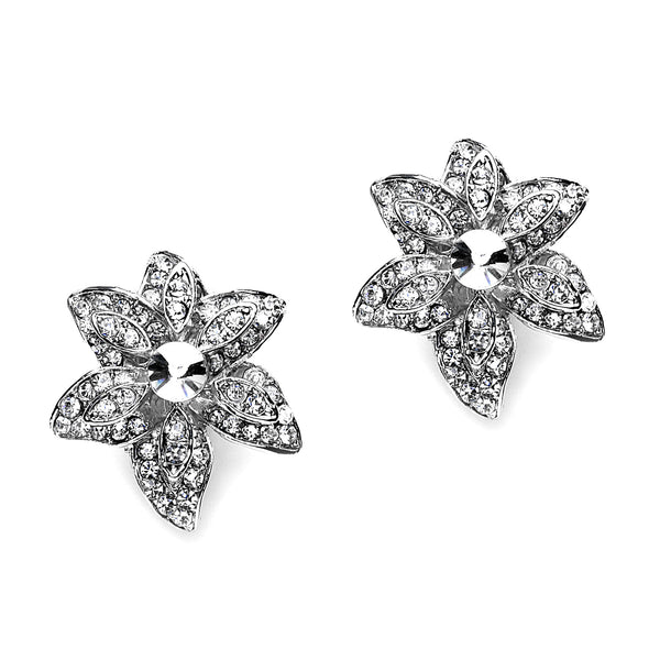 Pave Crystal Flower Clip On Earrings (24 mm)