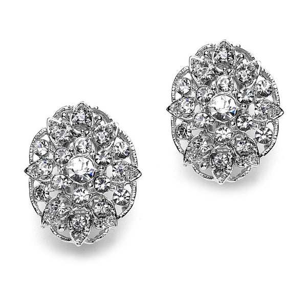 Flower Pave Crystal Clip On Earrings