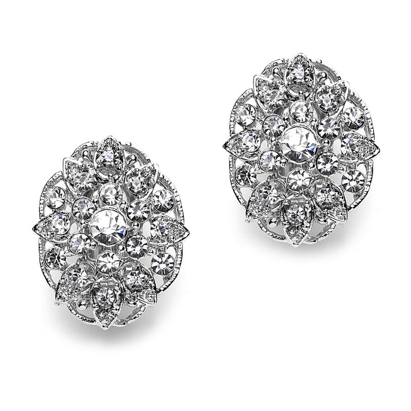Pave Crystal Long Flower Clip On Earrings(25 mm)