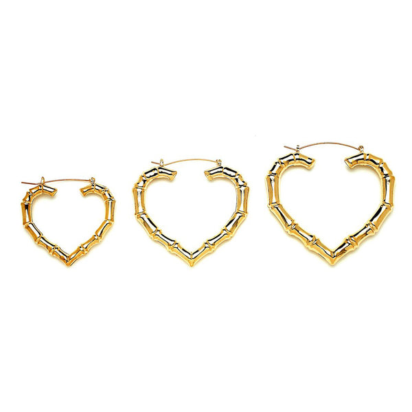 Heart Bamboo Hoop Earrings