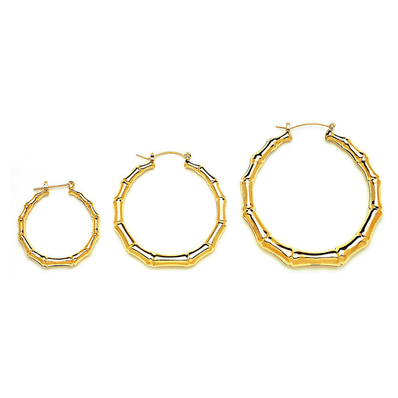 Gold Plated Round Cut Bamboo Hoop Earrings