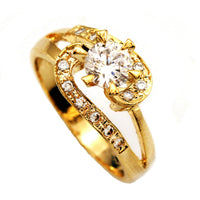 0.75 Ct Center Stone Round Cut Bypass Gold CZ Wedding Ring