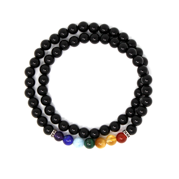 6mm Healing Onyx and 7 Chakara Stone Bead Double Layered Elastic Natural Stone Yoga Bracelet