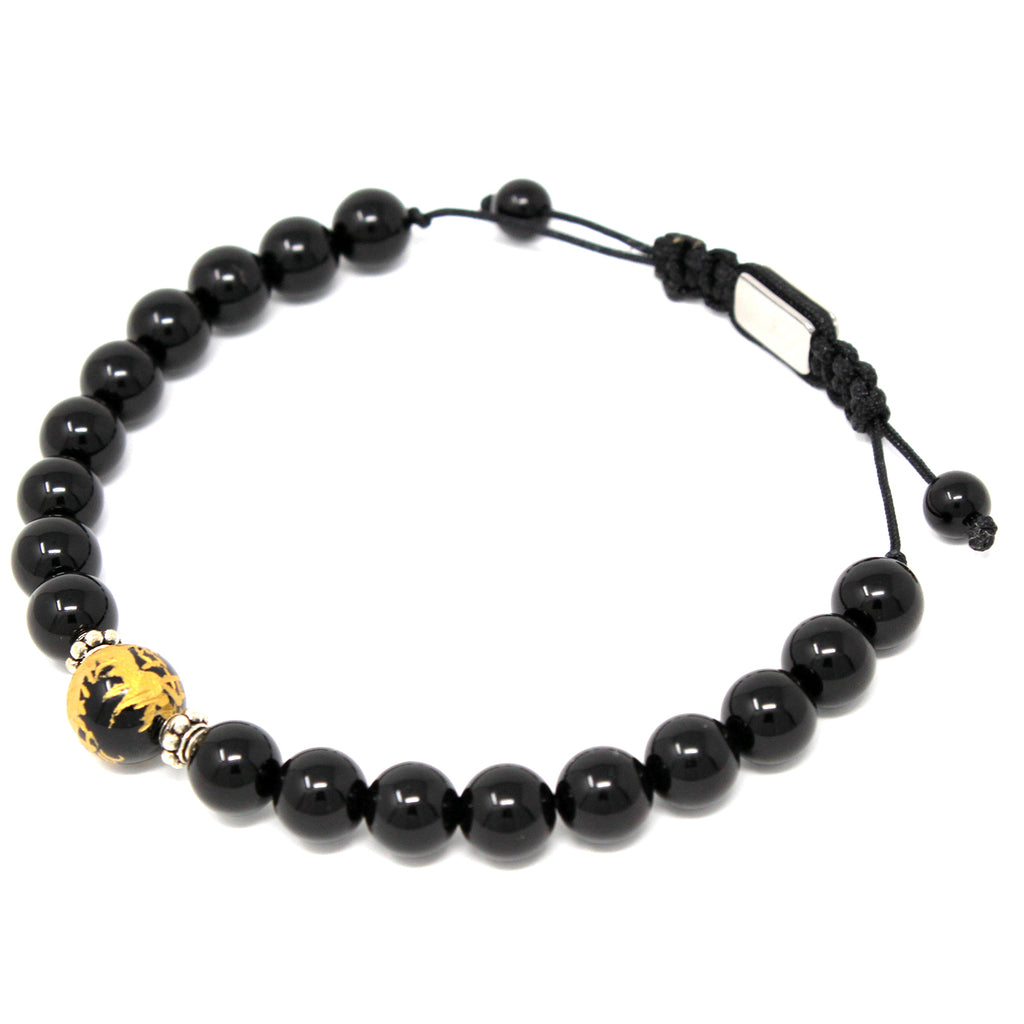 8 mm Genuine Healing Onyx Stone Gold Dragon Print Elastic Natural Stone Yoga Bracelet for Men and Women