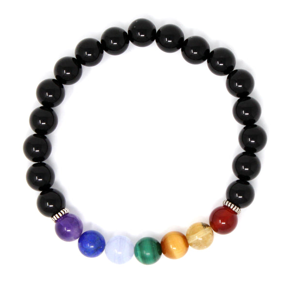 8mm Genuine Healing Onyx and 7 Chakra Stone Bead Elastic Natural Stone Yoga Bracelet