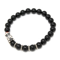 Onyx Stone Antique Silver Dragon Head Elastic Natural Stone Yoga Bracelet