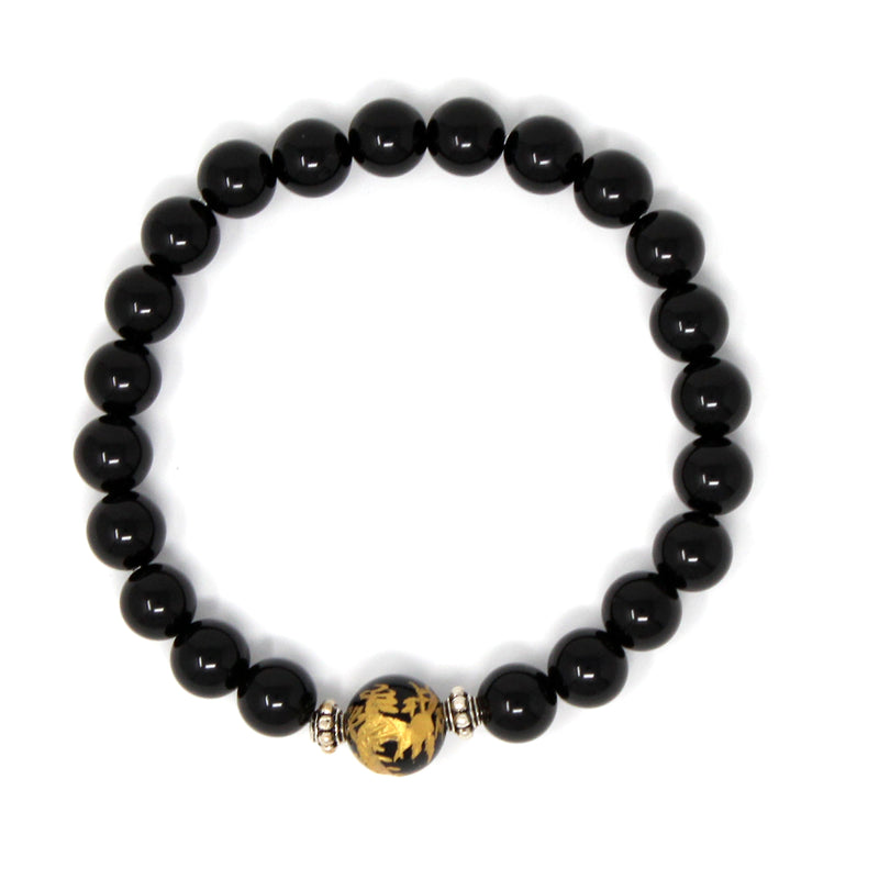 8 mm Genuine Healing Onyx Stone Gold Dragon Print Elastic Natural Stone Yoga Bracelet